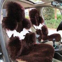 Funda de asiento de lana Natural australiana para asiento delantero, cojín de coche de invierno, 100% de alta calidad, asientos cubierta piel de oveja auténtica