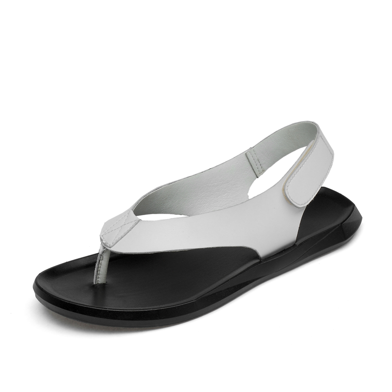 blanc Mode Eofk Sandales Sur D'été Hommes Homme Noir Design Nouveau Noir Décontracté Cuir En Caoutchouc Tongs Plat Des Glissement Véritable De zBRBrq