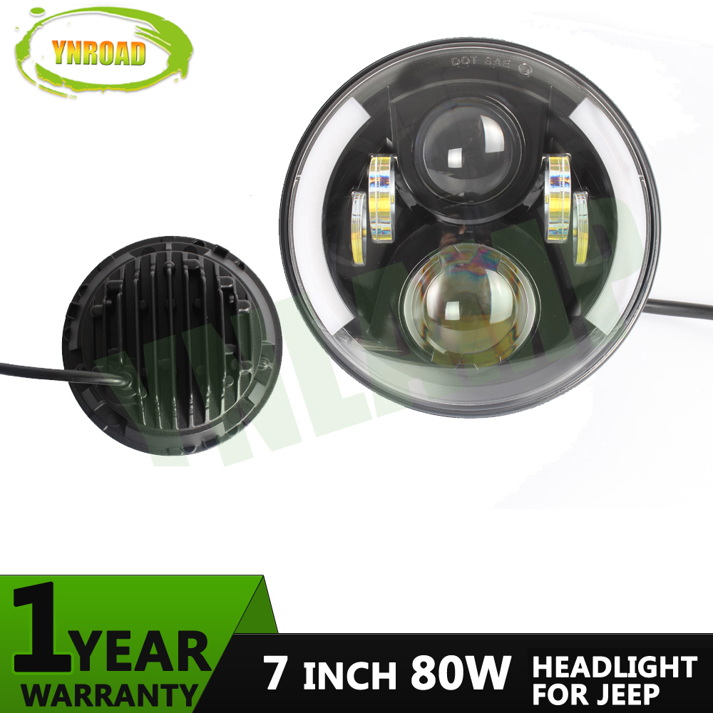 YNROAD Pair 7 inch Round 80W Hi/ Low Beam with half angel eye LED JK headlight light off road light new design 3700LM 1 pair 7 inch rectangular led headlight