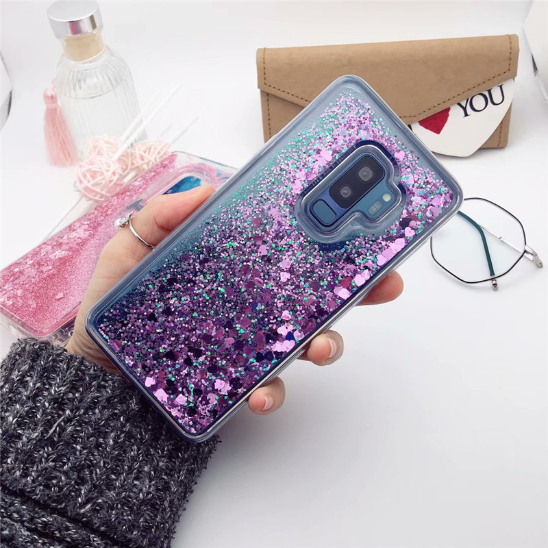 For Samsung Galaxy S8 S9 Plus S10 S5 S6 S7 edge Bling Quicksand Glitter TPU Case For A6 A7 A8 A9 J4 J6 2018 Note 4 5 8 9 Cover (China)