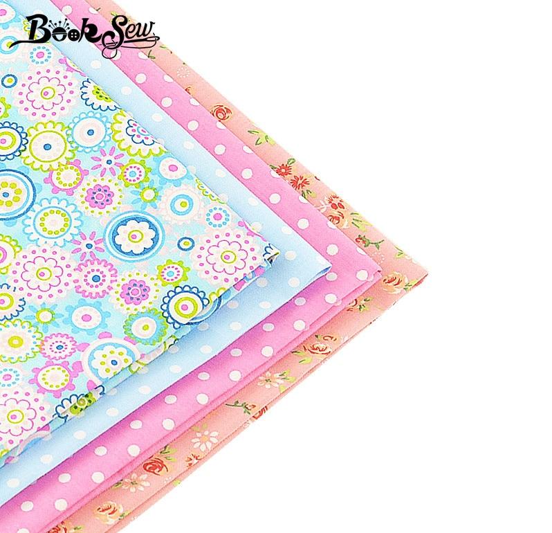 Книжкова тканина бавовняна тканина квіткові точки 4 шт. / Лот 40 см х 50 см пучок quilting печворк одяг постільна білизна tissus tilda домашній текстиль