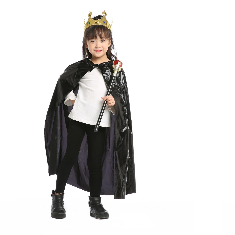 King Queen Boys Girls Princess Cloak Prince Crown Sceptre Children CosplayCarnival Birthday Party Costume Set
