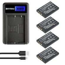 4x 1200MaH NP-60 FNP-60 NP60 NP-30 K5000 D-Li2 Li-20B Battery&LCD Charger for Fujifilm F50I F401 F402 F501 ZOOM F410 F601