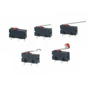 Image 3 - 5 adet Mini mikro sınır anahtarı NO NC 3 Pins PCB terminalleri SPDT 5A 125V 250V 29mm makaralı ark kolu yapış eylem basma mikro anahtarları