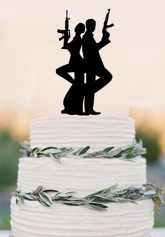 Gun Wedding Cake Topper Bersenjata Beberapa Puncak Kue Dekorasi Pesta Pernikahan Akrilik Mata Mata Puncak Kue Decorative Decorative Decoration Partydecoration Wedding Party Aliexpress