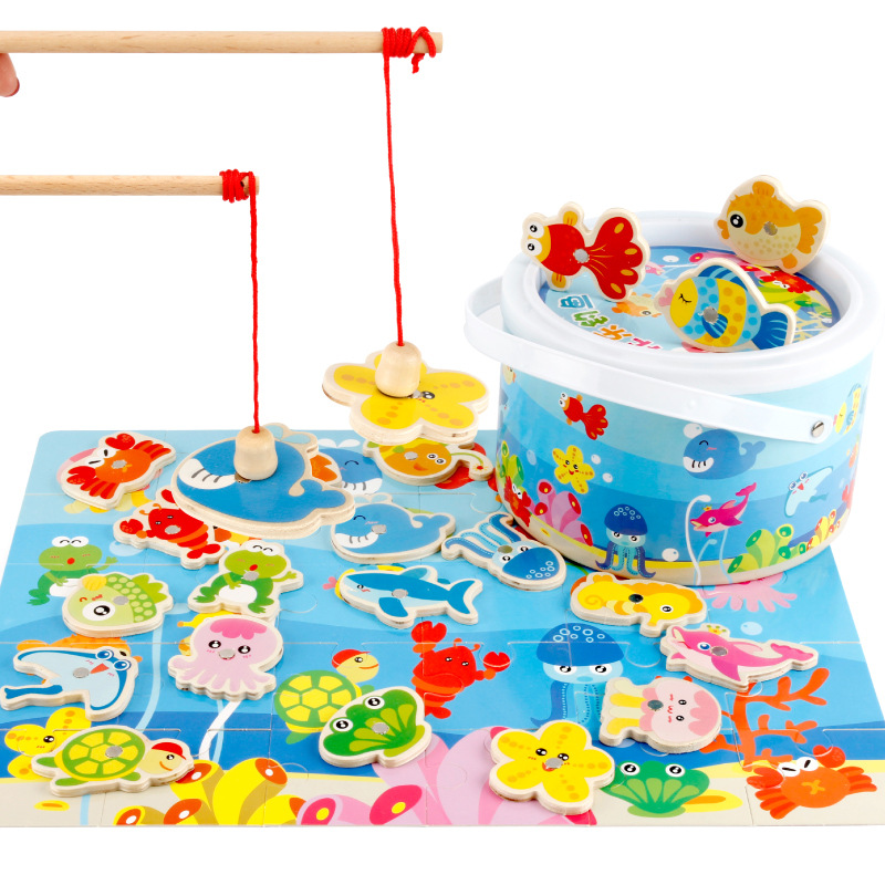 Wooden Fishing Toys Children Puzzles Board Magnetic Fishing Games Set With 20 Ocean Animals Kids Fun Outdoor Educational Toys