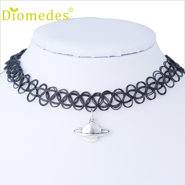 16b460ffe1128 US $1.98 |Diomedes Necklace Women 1PC Tattoo Choker Stretch Black Retro  Henna Vintage Elastic Boho 90s Gothic Accessories Sexy Chain-in Power ...