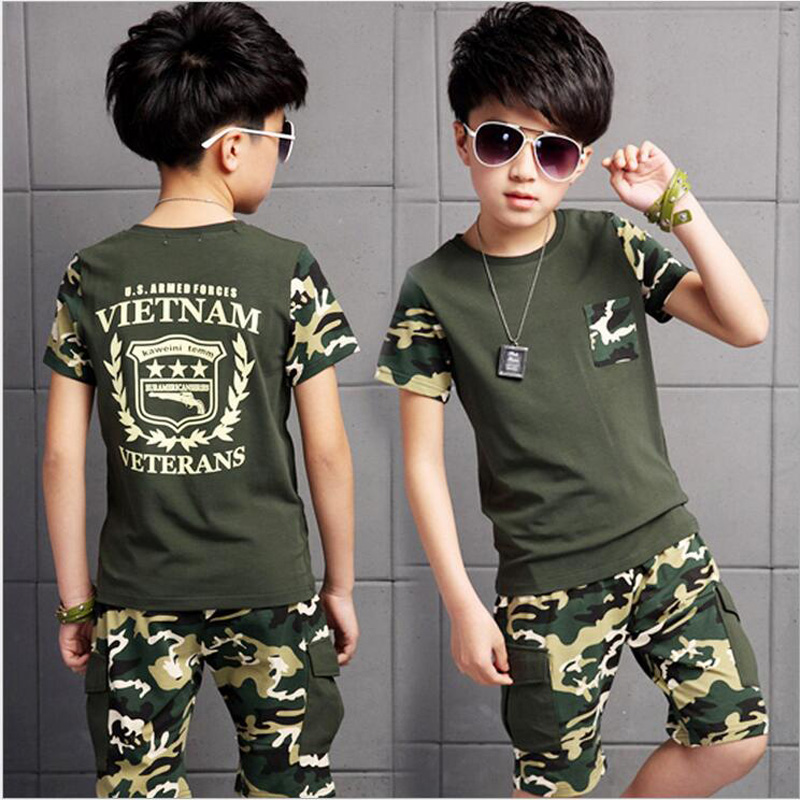 Boy Clothing Sets 10 Years Kids Clothing Camouflage T-shirt Kids Clothes T-shirt + Short Two-pieces Suit Cotton Teenage Costume teenage girls clothes sets camouflage kids suit fashion costume boys clothing set tracksuits for girl 6 12 years coat pants