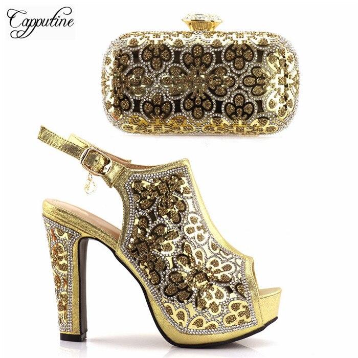Чудесные золотые высокий каблук сандалии обувь с пряжкой и вечерняя сумочка набор с красивой Стразы S19-3
