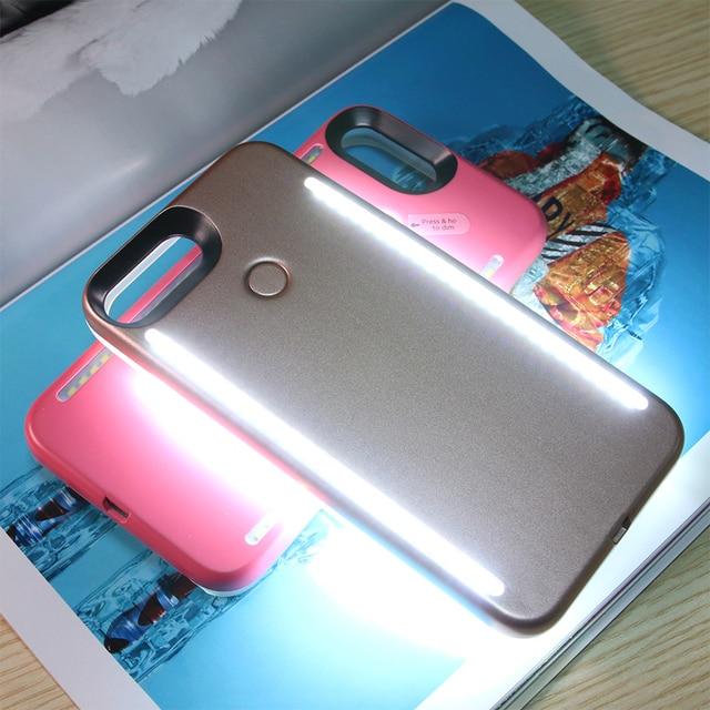 LED Lumière Selfie Téléphone Cas Lumière Flash Lumineux Téléphone Couverture Arrière Cas Pour iPhone 5S 6 s 6 s Plus 7 Plus 8 Plus X Funda Coque 2