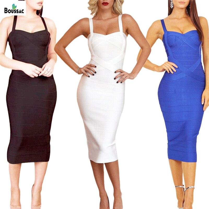 BOUSSAC Women's  Dresses 2019 New Spaghetti Strap Midi Bandage платье V Neck Lady Runway Dresses