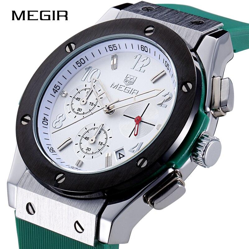MEGIR Для мужчин спортивные часы моды Аналоговый Кварцевые наручные часы Для мужчин Элитный бренд силиконовый ремешок Водонепроницаемый час...