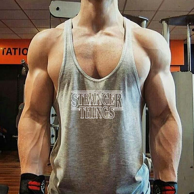 Grey Men Tank Top Casual Fitness Singlets Brand Mens T-Shirt Sleeveless Gasp Hip Hop Vest letter Print Cotton undershirt