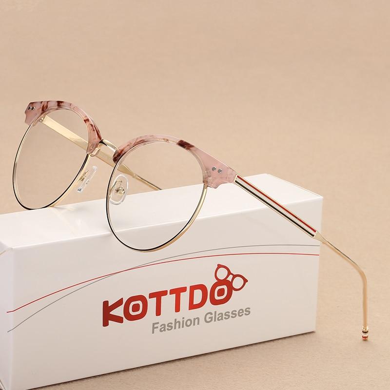 b46527b1fb77c KOTTDO Mulheres Rodada Óculos de Armação de óculos óculos de Armação  transparente de Metal Clássico Do Vintage Lente Clara Óculos de Prescrição