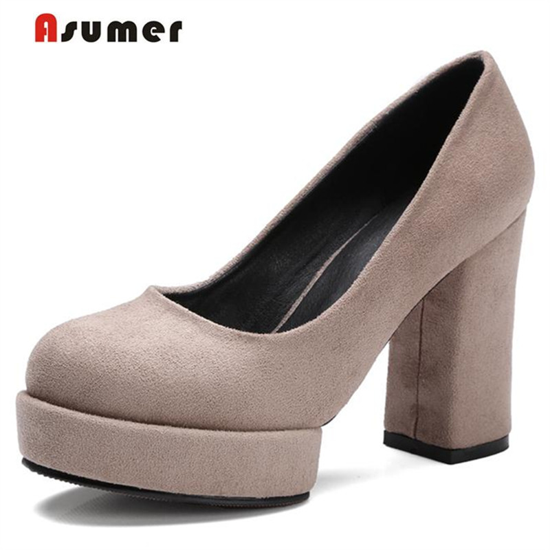ASUMER 2020 Kid daim talons hauts chaussures plate-forme bout rond femmes chaussures pompes solide grande taille 32-42 bureau dame travail chaussures mature