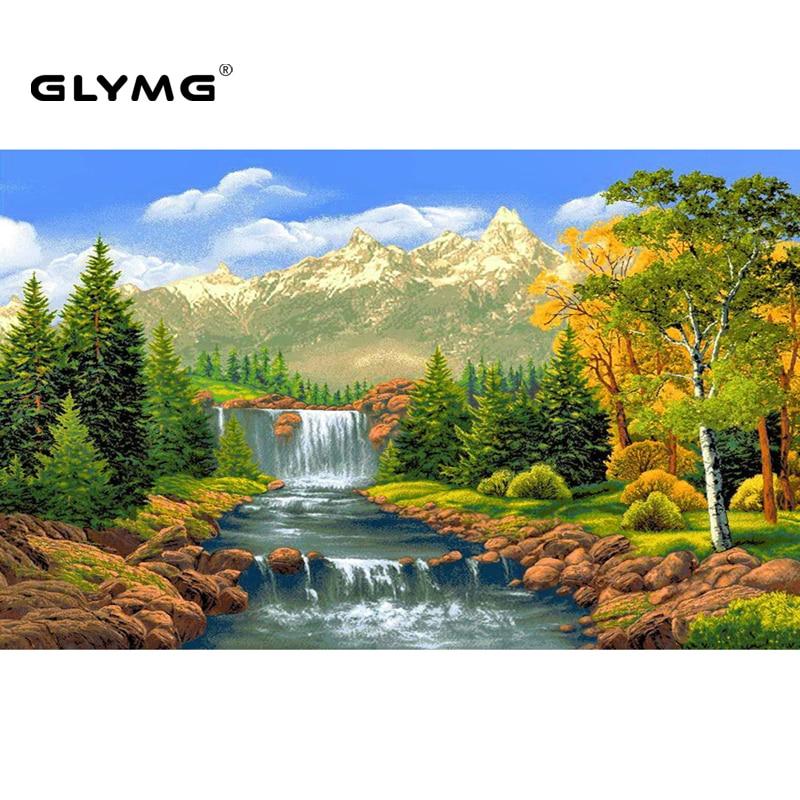 GLymg Hand Diy Diamant Stickerei Natürliche Landschaft Wald Creek Diamant Malerei Kreuz Voll Platz Europäische Wohnkultur