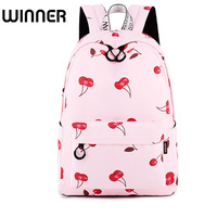 Fashion Waterproof Women Backpacks Pink Cherry Fruit Pattern Printing Female Back Pack Girls College Laptop Book Bags