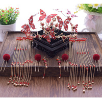 2018 new costume red butterfly Chinese bride red tassel tiara feather ball hairpins hair sets of assembly bride hair jewelry