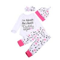 4PCS Set Newborn Baby Girl Boy Clothes Long Sleeve Cotton Romper Long Pants Hat Headband Outfits Clothing Bebek Giyim Suit 0-18M