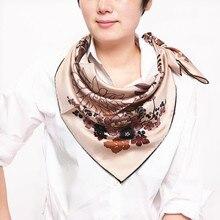100% シルク女性の正方形のスカーフ、素材: flowerOrchid 88x88