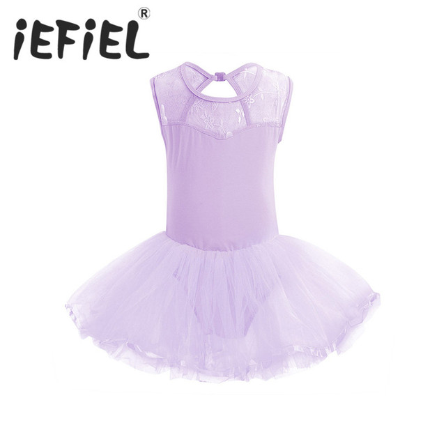 64f372656 iEFiEL Cutout Back Kid Girls Lace Flower Ballet Tutu Dress Dancewear ...