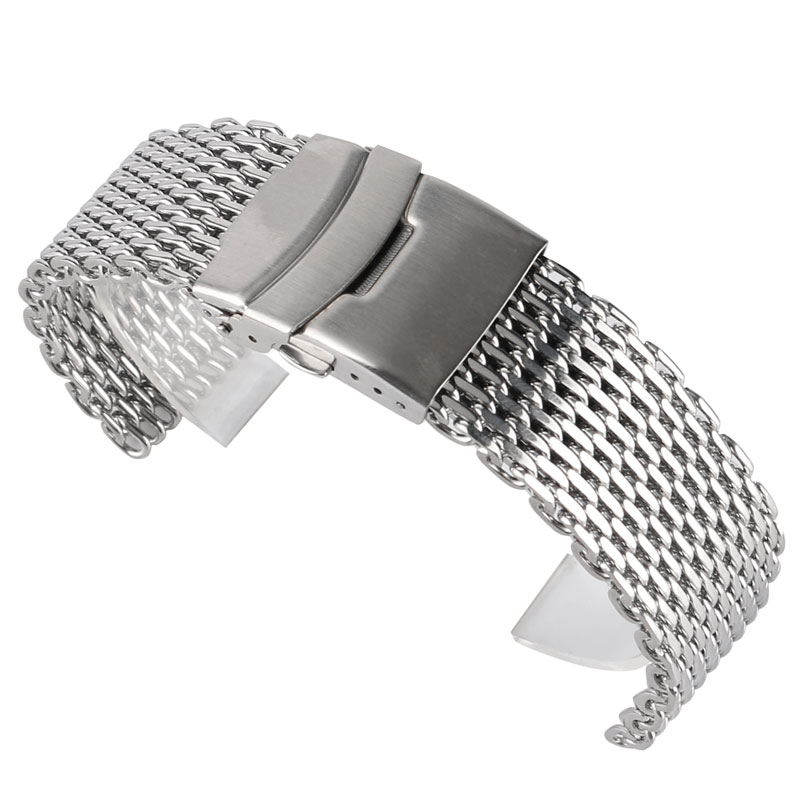 18mm 20 mm 22 mm Stainless Steel Mesh Watch Band Shirit argjendi për mens dore Watch rrip rrip byzylyk shtysë butoni