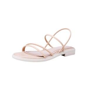 Image 3 - Женские сандалии из натуральной кожи TXCNMB, удобные повседневные сандалии, белые, черные, для лета, 2020