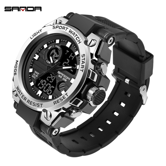 SANDA Men's Watches Black Sports Watch LED Digital 3ATM Waterproof Military Watches S Shock Male Clock relogios masculino