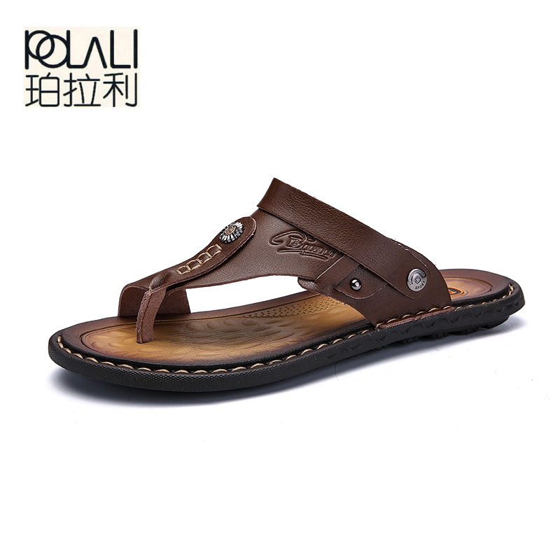 POLALI Men Sandals Genuine Split Leather Men Beach Sandals Brand Men Casual Shoes Flip Flops Men Slippers Sneakers Summer Shoes-in Men's Sandals from Shoes