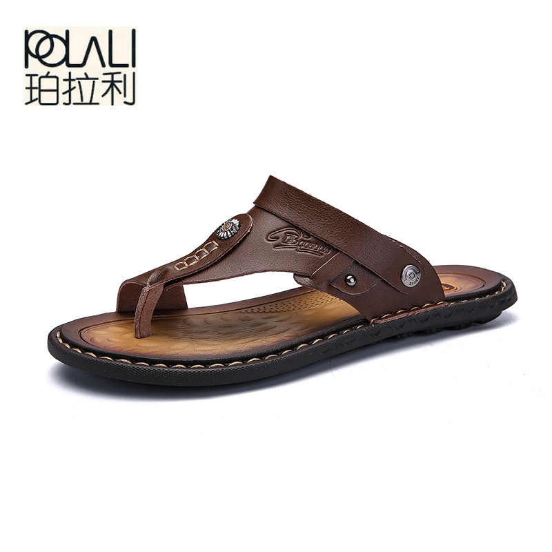 eec04dd24 Detail Feedback Questions about POLALI Men Sandals Genuine Split Leather  Men Beach Sandals Brand Men Casual Shoes Flip Flops Men Slippers Sneakers  Summer ...