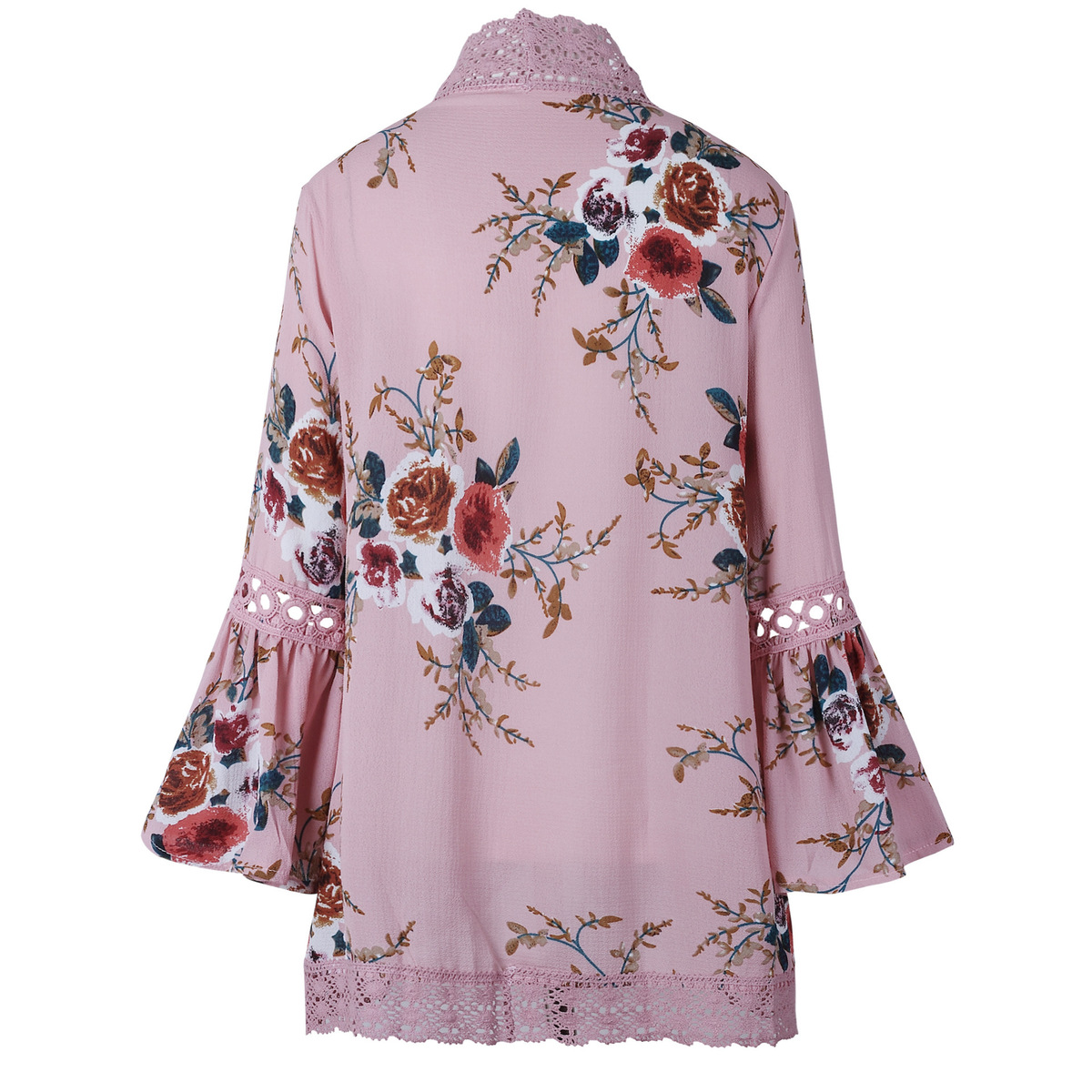 HTB1mV1KEXGWBuNjy0Fbq6z4sXXao Women Plus Size Loose Casual Basic Jackets Female 2018 Autumn Long Flare Sleeve Floral Print Outwear Coat Open Stitch Clothing