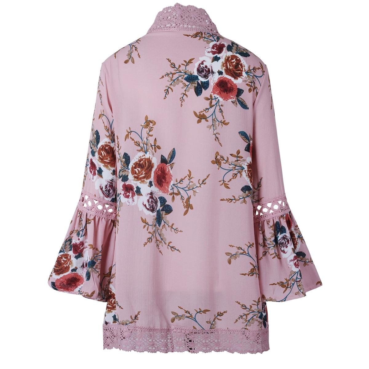 HTB1mV1KEXGWBuNjy0Fbq6z4sXXao Women Plus Size Loose Casual Basic Jackets Female 2018 Autumn Long Flare Sleeve Floral Print Outwear Coat Open Stitch Clothing