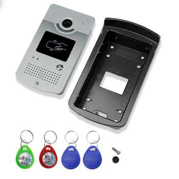 7\'\' wired color video door phone intercom system kit set with outdoor unit RFID card reader video doorbell IR camera+power