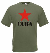 CUBA T-SHIRT RED STAR WITH TEXT COMMUNIST CASTRO REVOLUTION POLITICAL COLD WAR free shipping