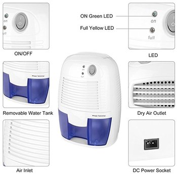 500 Ã�リリットル半導体除湿機ミニポータブルホームエアドライヤ乾燥剤水分吸収低ノイズキャビネット除湿機