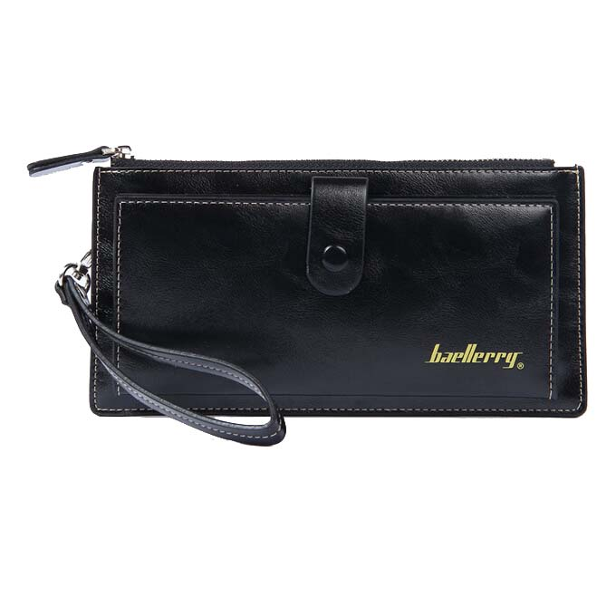 Baellerry Female Leather Hand Bag Fashion Wallets Women Coin Purses Wristlet Bags With Strap, Black women genuine leather character embossed day clutches wristlet long wallets chains hand bag female shoulder clutch crossbody bag
