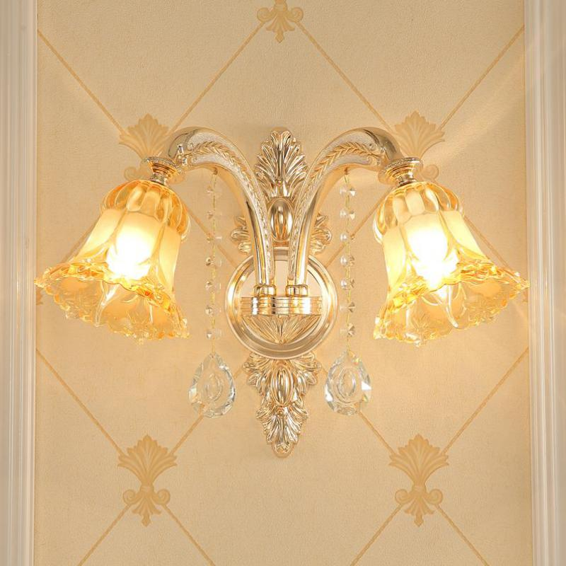 2018 New Arrival Stained Glass Crystal Wall sconce lighting 110-240V New Classical/post-modern E14 gold hotel room wall lights