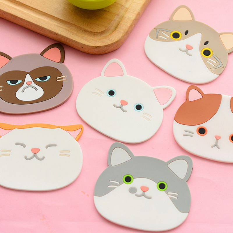 Cute Cartoon Cat Coasters Silicone Placemat Cushion Mug Tableware Cup Tea Mat Creative Thicker Printing Table Mats 1Pc