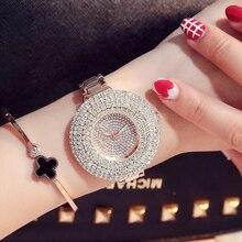 Bling Crystal Rhinestone Mujeres Relojes de Pulsera de Acero Inoxidable de Lujo Señoras Qaurtz Reloj De Las Mujeres Del Relogio Reloj Feminino
