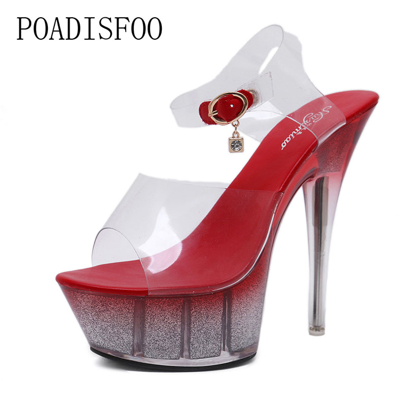 POADISFOO women's Elegant Sexy Nightclub Super High Heels Scrub Sandals Shoes Catwalk Pole Dance Shoes Crystal LFD-330-6 sexy supermodels catwalk shoes super high heels shoes 20 cm cos props nightclub paris fashion boots