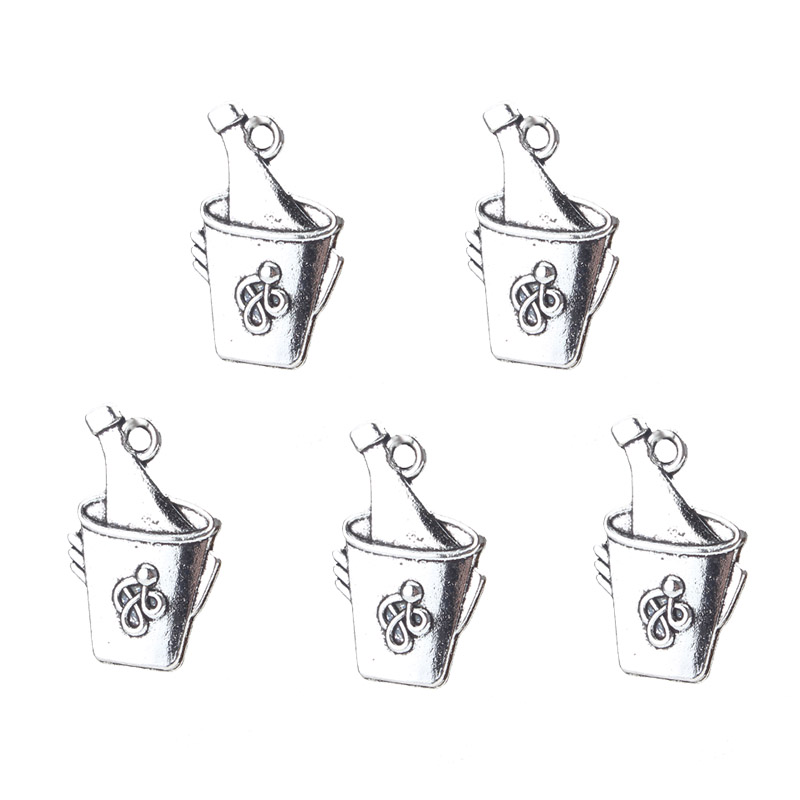 10pcs/lot 25*15mm Vintage Bucket Charm Food & Beverages Pendants Keychain Bracelet Necklace For Jewelry Making Accessories