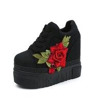 Lucyever/Новое поступление модные вышитые цветы женские ботильоны увеличивающие рост на платформе весна осень повседневная женская обувь