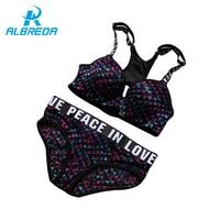 ALBREDA Women Sexy Push Up Bra Sets High Quality Running Yoga Sports Bra Set Adjustable Underwear