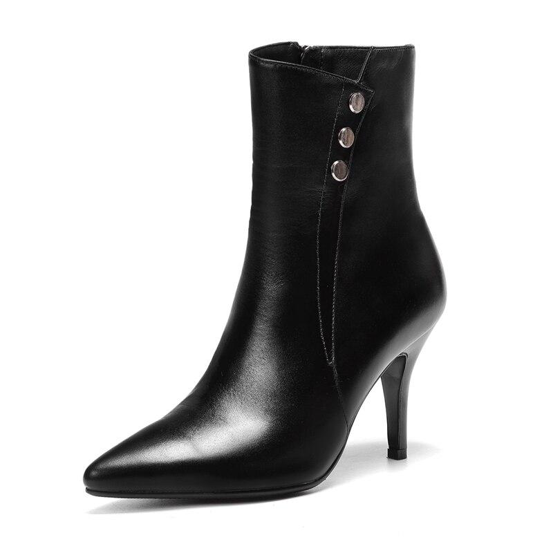 Enmayer Pour Pointu À black Femmes Glissière Orteil Beige Botas Solide Talons Mujer Bottes Zyl1038 Hauts Bottines Chaussures QrxBodEeCW