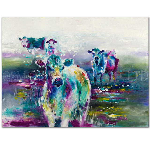 Professional Artist Hand Painted High Quality Abstract: Professional Artist Handmade High Quality Abstract Animal