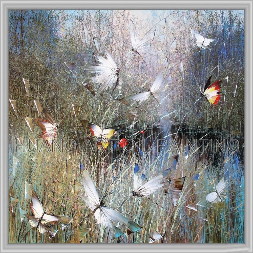 Peinture à l'huile originale peinte à la main abstraite colorée papillon mouche dans la rivière été paysage peinture à l'huile sur toile