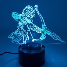 Zelda Breathing of the Wild экшн-фигурка, 3D ночник, светодиодный, меняющий аниме, Zelda, 3D светящаяся игрушка, фигурка