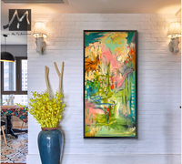 Abstract modern canvas wall art hand painted oil painting on canvas vertical watercolor paint brush for living room decoration