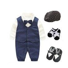 Для новорожденных мальчиков Свадебная вечеринка смокинг костюм 0-18 месяцев детское боди + шляпа + Носки + обувь наряды и установить джентльмен baby shower подарок