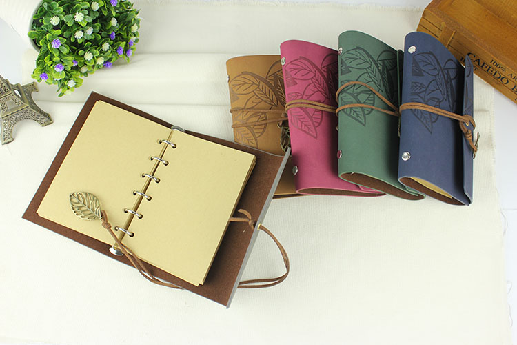 Vintage resenärens journalen läder keps rese anteckningsbok A6 A7 - Block och anteckningsböcker - Foto 2